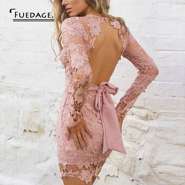 Fuedage Sexy Lace Dress Women 2017 Long Sleeve V-neck Bandage Autumn Dress Pink Red Hollow Elegant Halter Party Dresses Vestidos