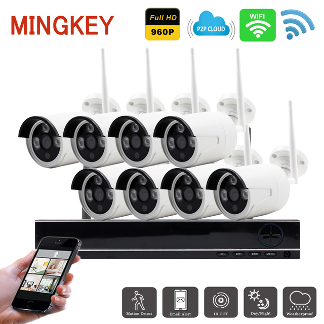 1.3MP 8CH Home Security Camera System Wireless 960P IP Camera Wifi HD Security Camera System NightVison Outdoor CCTV Camera