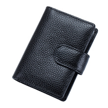 Premium 100% Cowhide Leather Businessmen Card Holders Guaranteed 2018 Hot Brand Bi-fold Unisex Credit Wallets With PVC Bank