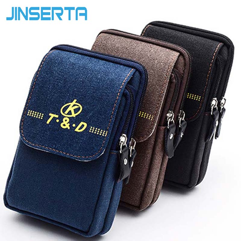 JINSERTA 5.2-5.7 inch Universal Phone Bag Case for iphone 8/7/6 plus Samsung s8 plus/s6 edge /N5/N4 Waist Packs Canvas Belt Bag ...