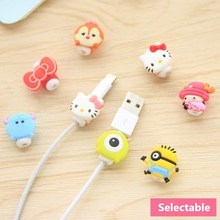 2pcs/lot Cute Cartoon USB Cable Earphone Protector Headphones Line Saver For Mobile Phone Charging Data Protection