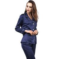 New Women Satin Pajama Set Robe Silk Pajama Sets Full Sleeve Sleepwear 2 Pieces Silk Homewear