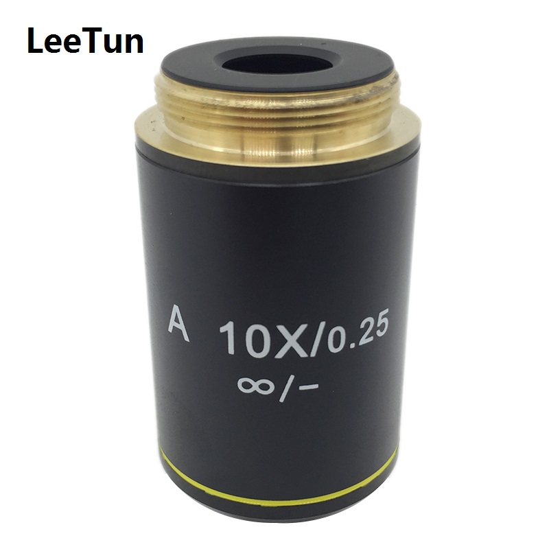 A 10X/0.25 Achromatic Infinity Bio-Microscope Objective Lens for Biological Microscope Zeiss Olympus Infinity Microscope 4x 10x 40x 100x 4pcs biological microscope conjugate distance 185 mm achromatic objective lens with thread mouning size 20 14mm page 6