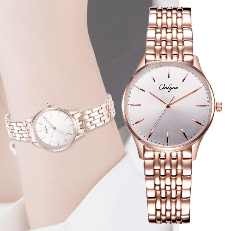 Watches Women Wrist Quartz Stainless Steel Waterproof Silver Rose Gold Ladies Dress Watch Relogio Feminino Montre Femme 83000  недорого