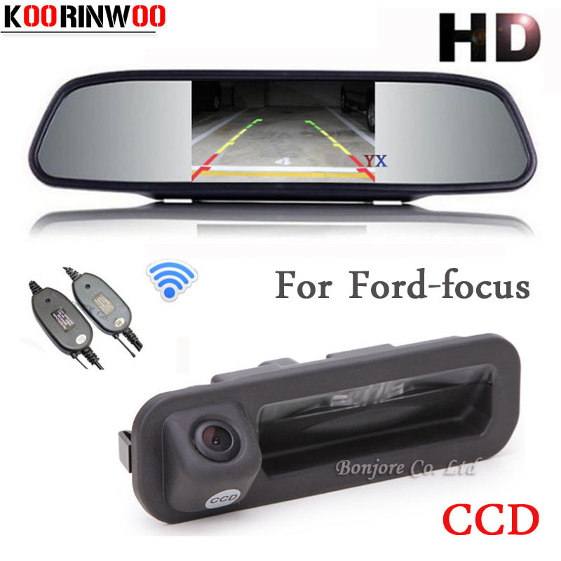 KOORINWOO Parking 5inch Car Monitor Mirror Video 800*480 CCD Car rear view Camera Trunk cam For Ford/focus 2 3 Hatchback Sedan for ford escape maverick mariner car parking sensors rear view back up camera 2 in 1 visual alarm parking system