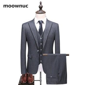 2018 Autumn Men's stripe suit business Casual  Single buckle Men Suit wedding dress Classic Male Suits men (Jacket+Vest+Pants)