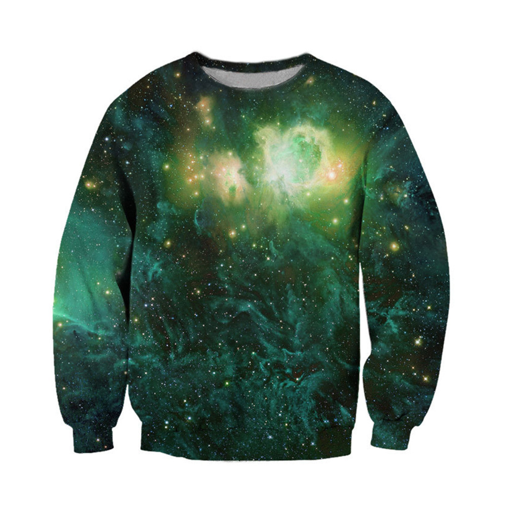 Men Novelty Pullover Dreamlike Night Sky 3d Printed Sweatshirt Male Sportswear Fashion O-neck Tide Green Sweatshirts Outwear