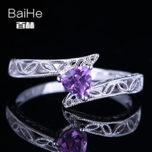 BAIHE Solid 14K White Gold(AU585) 0.23CT Certified 100% Genuine Amethyst/Flawless Wedding Women Cute/Romantic Fine Jewelry Ring