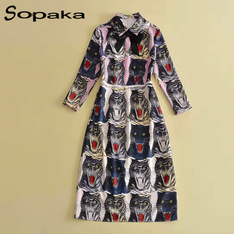 2018 Spring Newest Women Dresses Style Black Long Sleeve Turn-down Collar Bow Floral Printed Runway Designer Midi Women Dress
