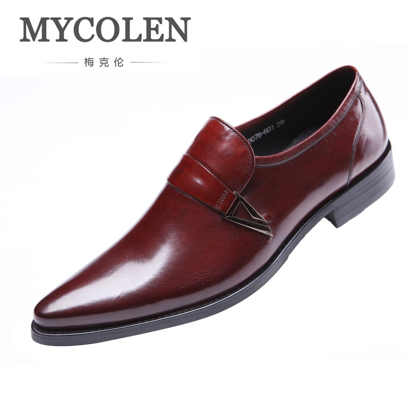 MYCOLEN Fashion Luxury Designer Genuine Leather Mens Dress Shoes Casual Slip-On Business Mens Pointed Toe Dress Shoes mycolen men loafers leather genuine luxury designer slip on mens shoes black italian brand dress loafers moccasins mens