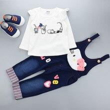 Мода года, комплект для малышей, одежда для маленьких девочек комплект детской одежды для девочек(штаны+ футболка), джинсовый костюм с белым рисунком кота