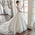 Rose Moda Elegant Half Sleeves Puffy Lace Wedding Ball Gown Illusion Back Wedding Dress Turkey Long Sleeves 2017