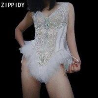 White Mesh Rhinestones Sleeveless Bodysuit Pearls Beading Costume Female Singer Show Birthday Leotard Nightclub Dance Outfit