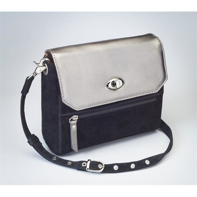 Gun Toten Mamas GTM-87-BK GM FLAP Suede Clutch with Cowhide Flap - Gun Metal gtm 24