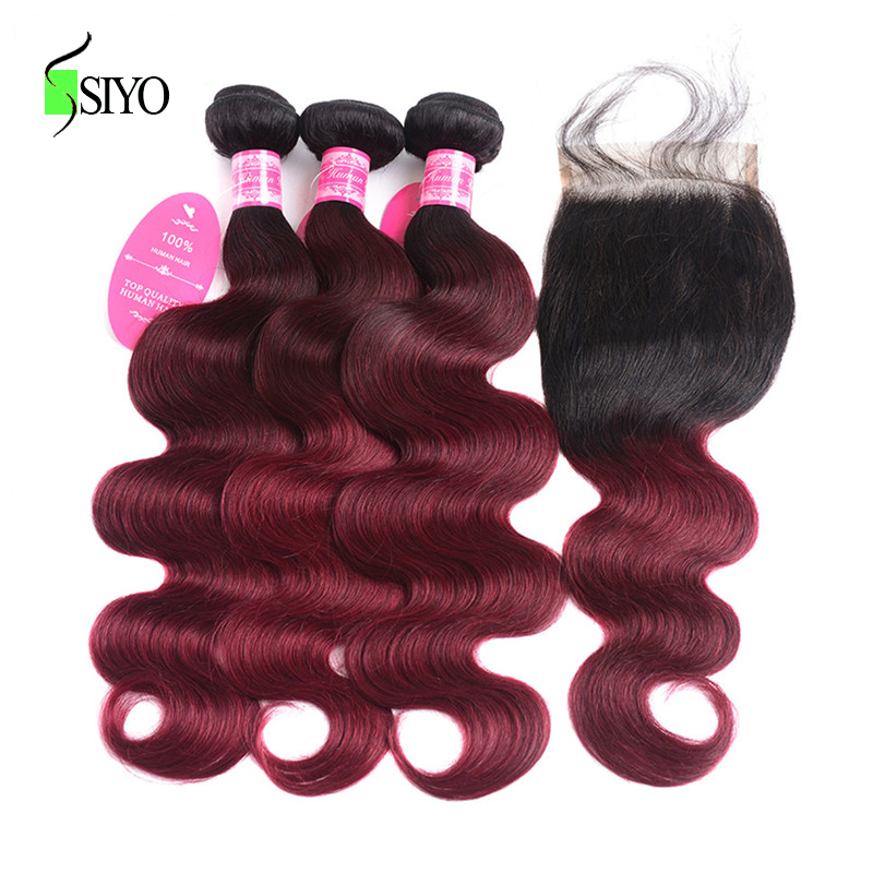 SIYO <font><b>Ombre</b></font> <font><b>Peruvian</b></font> <font><b>Body</b></font> <font><b>Wave</b></font> 3 <font><b>Bundles</b></font> <font><b>With</b></font> <font><b>Closure</b></font> 1B/Burgundy 100% Remy Human Hair <font><b>Bundles</b></font> <font><b>With</b></font> <font><b>Closure</b></font> 99J Red image