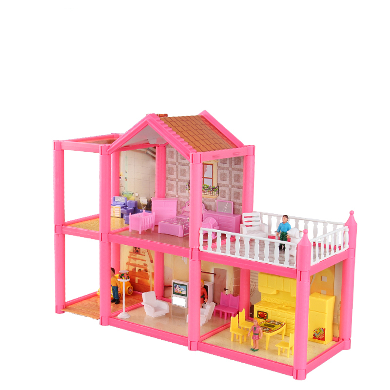 Free Shipping Diy Assemble Villa Doll House Toys Children Play House