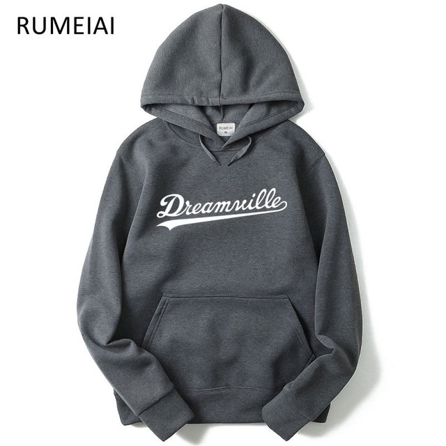RUMEIAI 2018 New Hoodies Men Hip Hop DREAMVILLE J Cole Logo Hooded Swag Letter Fleece JCole Hoodie Winter Hoodies Men Pullover