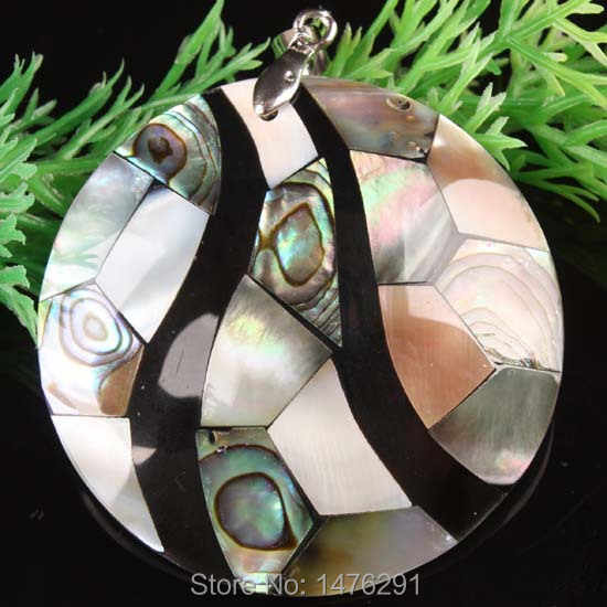 50X50 MÉT Abalone Mother of Pearl Shell Coin Bead Pendant 1 CÁI