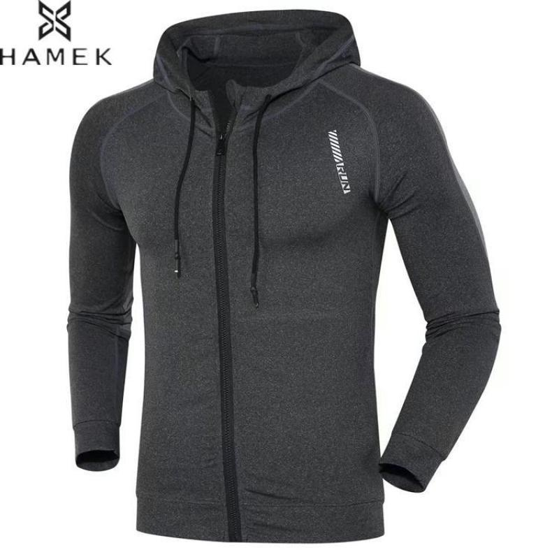 Mens Hooded Running Jacket Patchwork Reflective Stripe Fitness Gym Thin Coat Male Basketball Soccer Sportswear Training Clothes