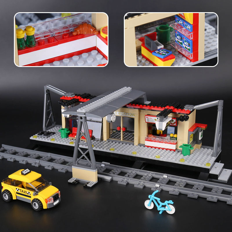 IN STOCK Lepin 02015 City Trains Series legoing 60050 Train Station with Rail track Taxi Building Block Set Kid Model Brick Toy