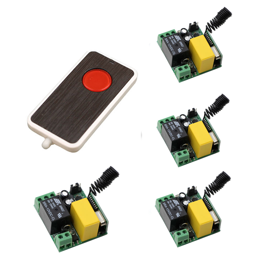 New RF Mini Wireless Remote Control AC 220 V 1 CH  Household Light Bulb Control 4* Receivers Board with 1*Transmitter 315/433mhz cs3310 remote preamplifier board with vfd display 4 way input hifi preamp remote control digital volume control board