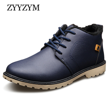 ZYYZYM Mens Boots Autumn Winter Lace-Up Style Ankle Fashion Classic Cotton Padded Shoes Plush Warm Man Snow 2018 Hot Sales