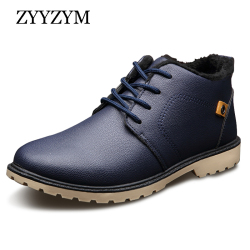 ZYYZYM Mens Boots Autumn Winter Lace-Up Style Ankle Fashion Classic Cotton Padded Shoes Plush Warm Man Snow Boots 2018 Hot Sales