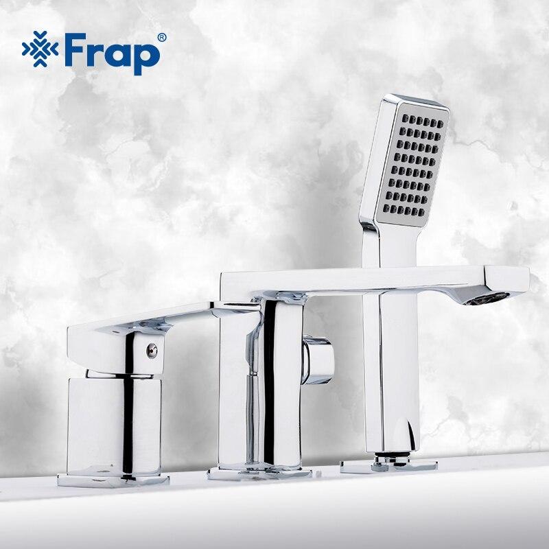 Frap Bathtub Faucet 3 piece Split Bath Tub Hot and Cold Water Mixer Single Handle Handheld