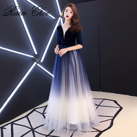 Evening Dresses 2019 A Line Formal Party Gowns V Neck Sexy Long Evening Dress