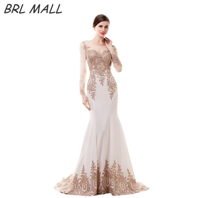 BRLMALL Elegant vestido de festa Long Sleeves Mermaid White Evening Dresses  Gold Lace Appliques Prom Dress Formal Gowns eb7fba1af67e