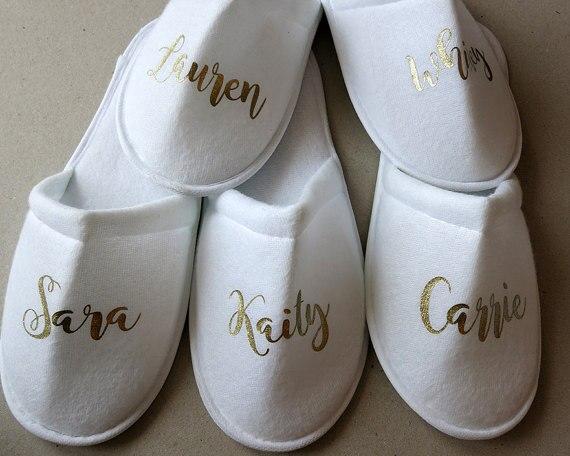set of 6 names Wedding Bridesmaid maid of honor Bridal Bride Slippers Hens  Night Bachelorette Spa 82a4c06dba5f