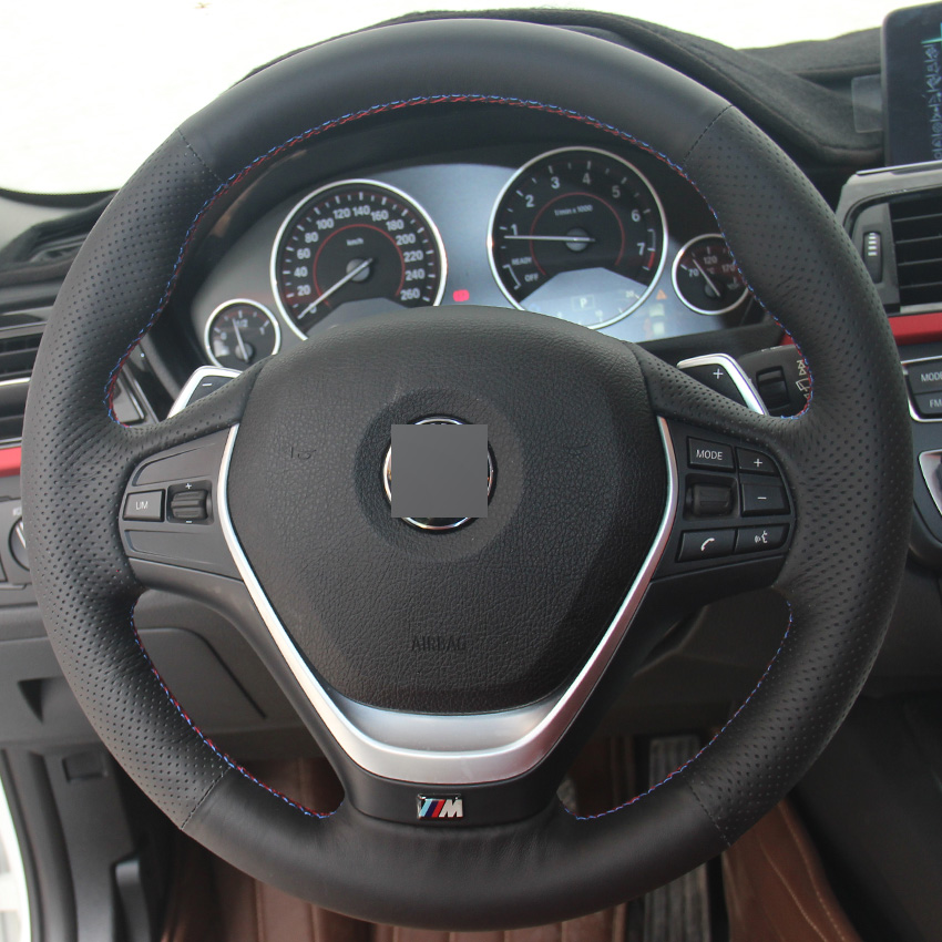 Black Leather DIY Hand Stitched Car Steering Wheel Cover