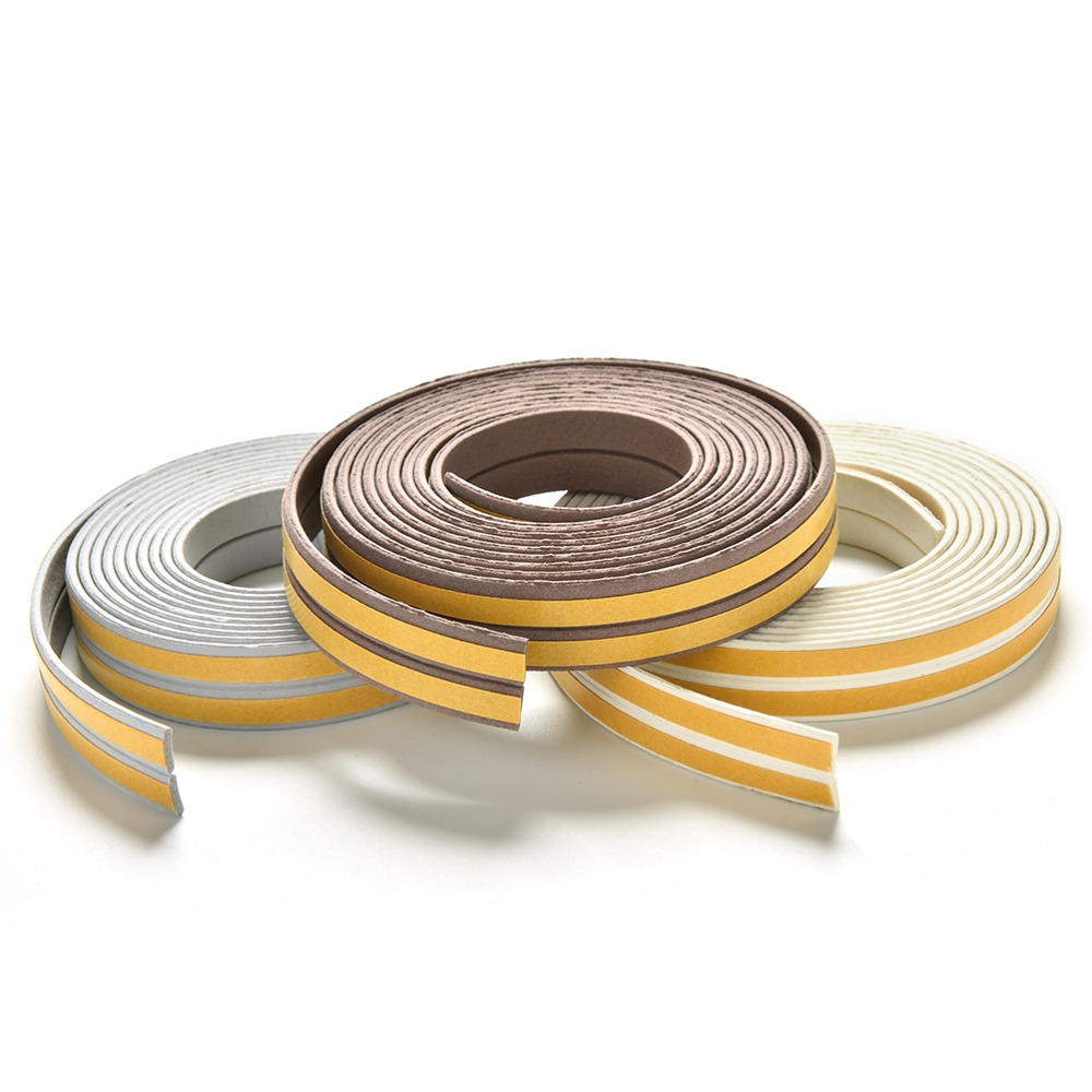 2.4m Self Adhesive E/D/I-Type Doors Windows Foam Seal Strip Soundproofing Collision Avoidance Rubber Seal Collision Tape