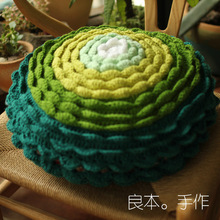 Handmade 3D green thicken sofa mat Tea Ceremony Hand hooked fashion crochet blanket cushion felt pastoral style 40cm
