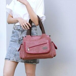 Image 5 - Холщовые дамские сумочки, повседневные Хобо на одно плечо, винтажные однотонные сумки через плечо с несколькими карманами для девушек