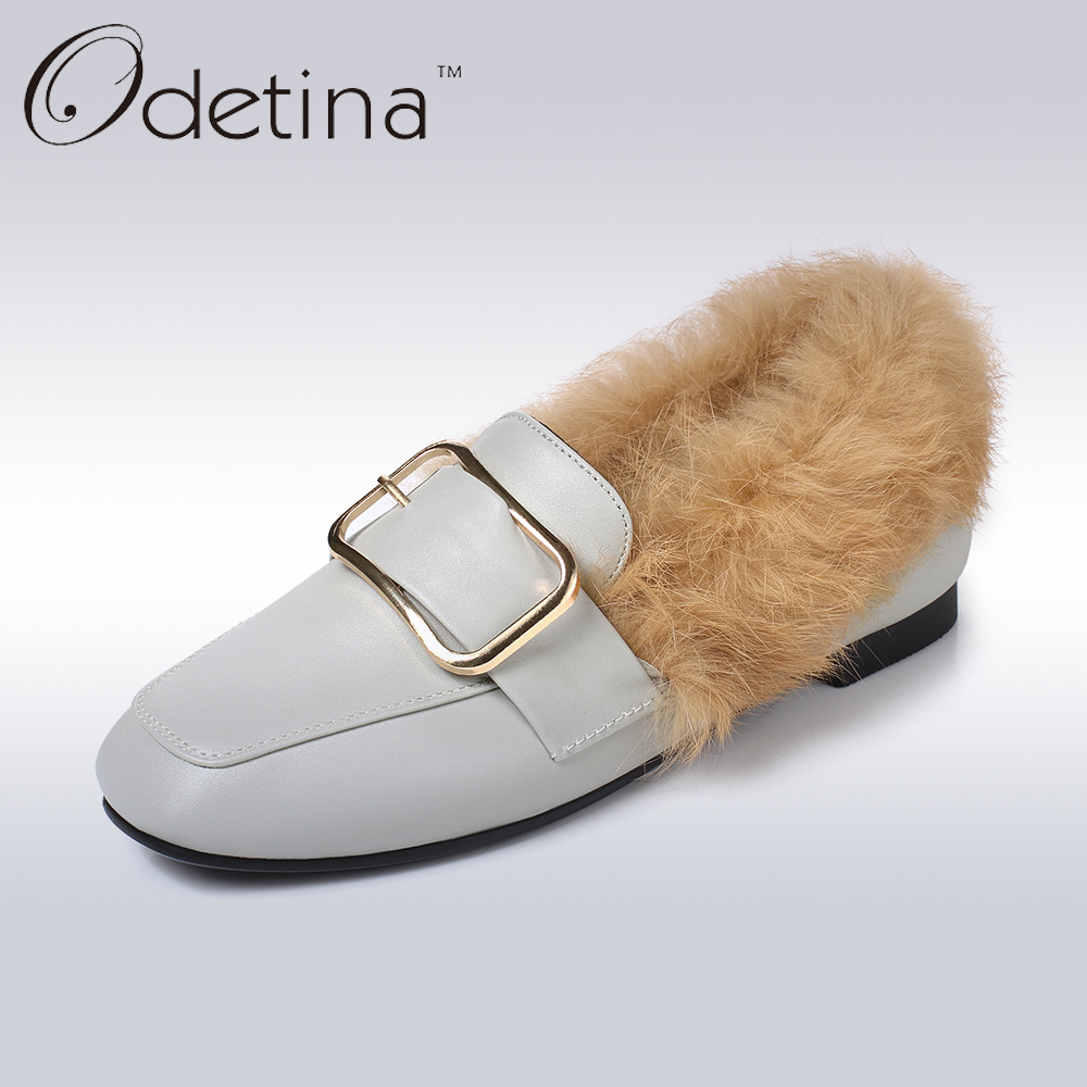 Odetina 2017 New Fashion Women Casual Flat Shoes Real Rabbit Fur Loafers Slip on Flats Square Buckle Shoes Ladies Big Size 32-45 new round toe slip on women loafers fashion bow patent leather women flat shoes ladies casual flats big size 34 43 women oxfords