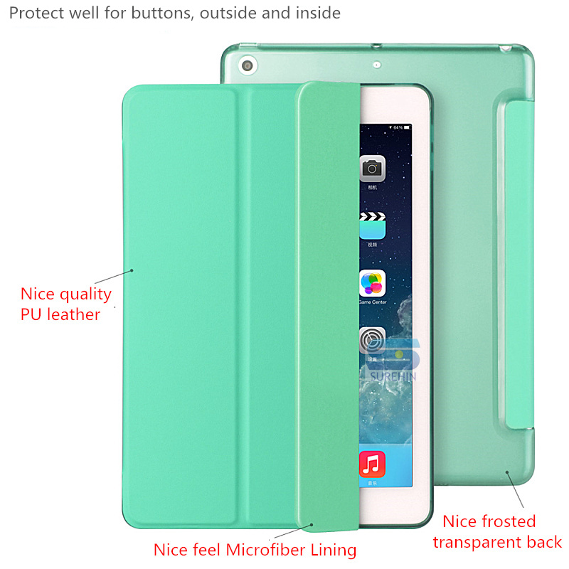 Nice Smart Cover For Apple Ipad Pro 9.7 Case Cover Magnetic Smart Leather Case Slim Thin Transparent Back Wake Sleep