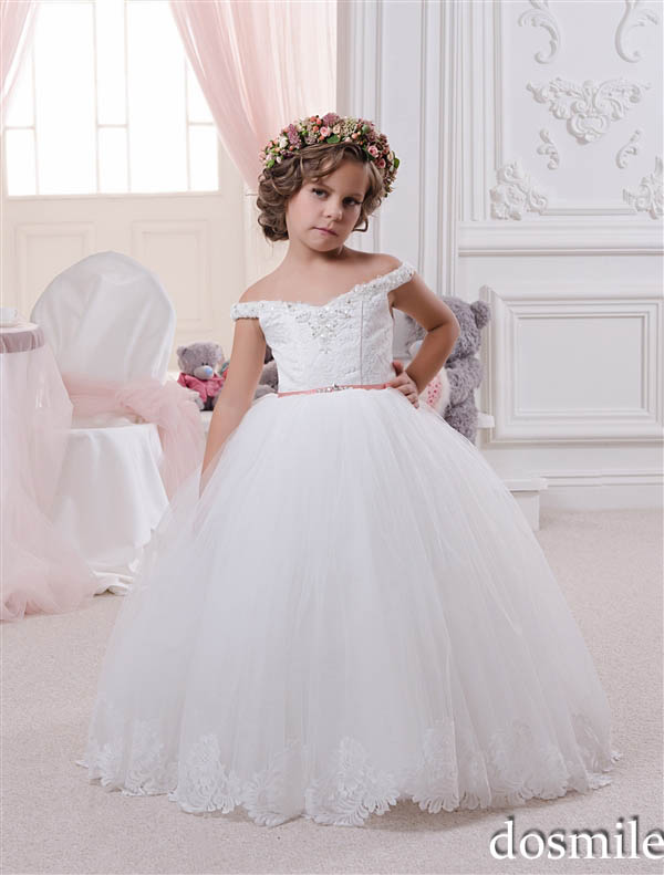 2016 Haute Couture Off the shoulder Princess Lace Flower Girl ...