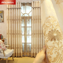 Home Shading Rate 41%-85% Europe Style Embroidered  Blackout Curtain for Living Room Window Custom Made