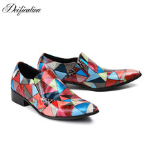 Deification Mocasin Hombre Stylish Triangle Printed Mens Dress Shoes Pointy Toe Leather Oxfords Business Party Plus Size