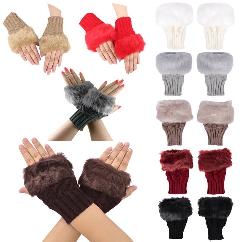Fashion Winter Women Gloves Plush Faux Fur Knitting Wool Keep Warm Short Mitten Fingerless Lady Girl Half Finger Glove IK88