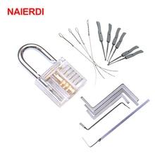NAIERDI Mini Locksmith Tools Practice Transparent Lock Kit With Broken Key Extractor Wrench Tool Removing Hooks Hardware