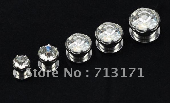 2012 Free Shippment Lot 50pcs New Arrived crystal GEMS Ear flesh Tunnels Plugs tapers Surgical 316L Steel body piercing Jewelry