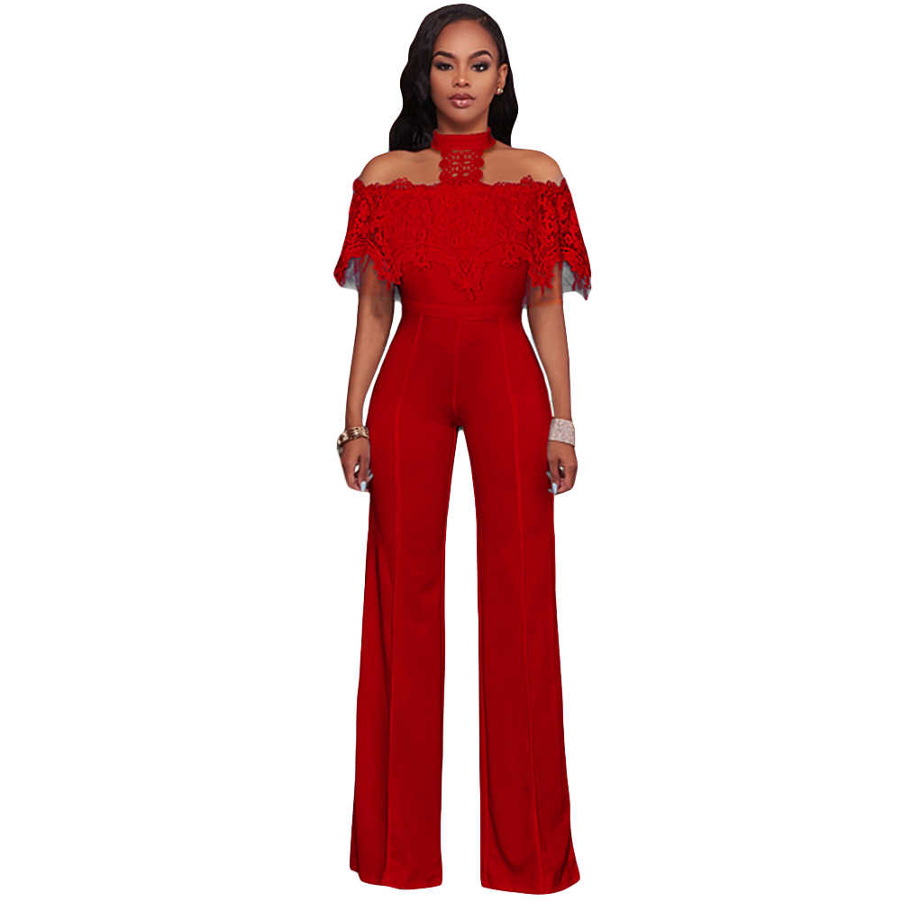 30805e1bb261 2018 Women Lace Jumpsuit Off Shoulder Rompers Halter Wide Leg Pants Loose  Long Trousers Overalls Sexy
