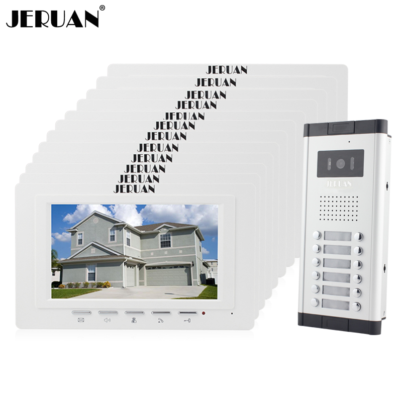 JERUAN Apartment Doorbell intercom 7`` LCD video door phone intercom system 12 white Monitor 700TVL IR Camera for 12 household цена