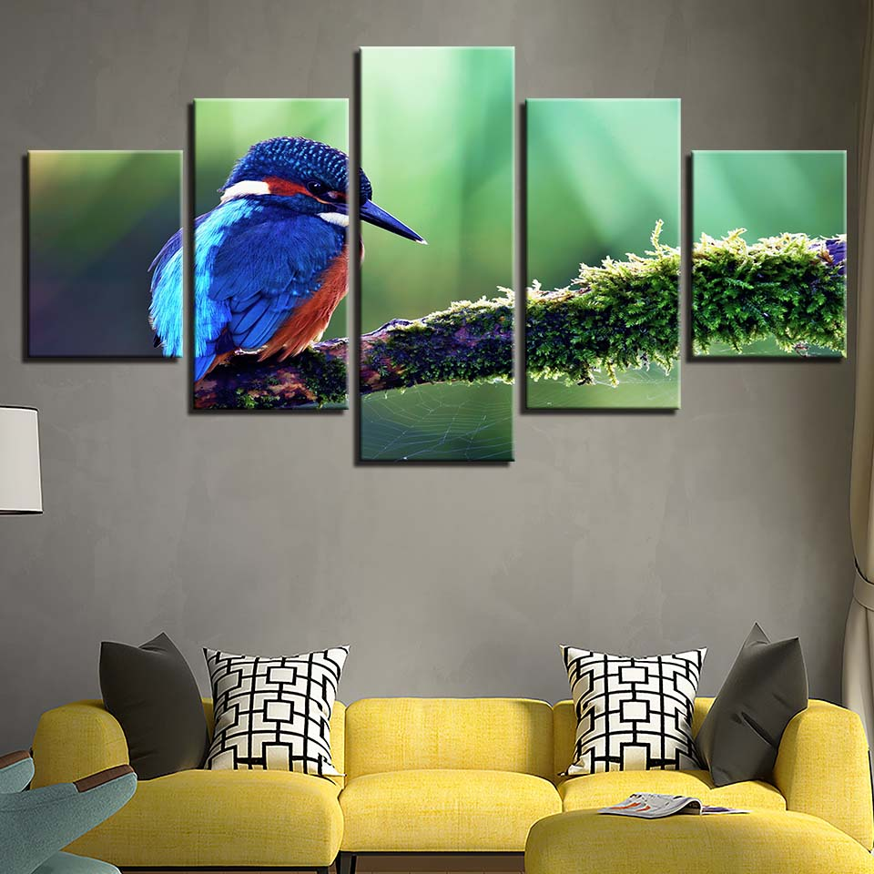 Canvas Painting HD Prints Home Decoration 5 Pieces Bird Animal Wall Art Modular Pictures Kids Bedside Background Artwork Poster in Painting Calligraphy from Home Garden