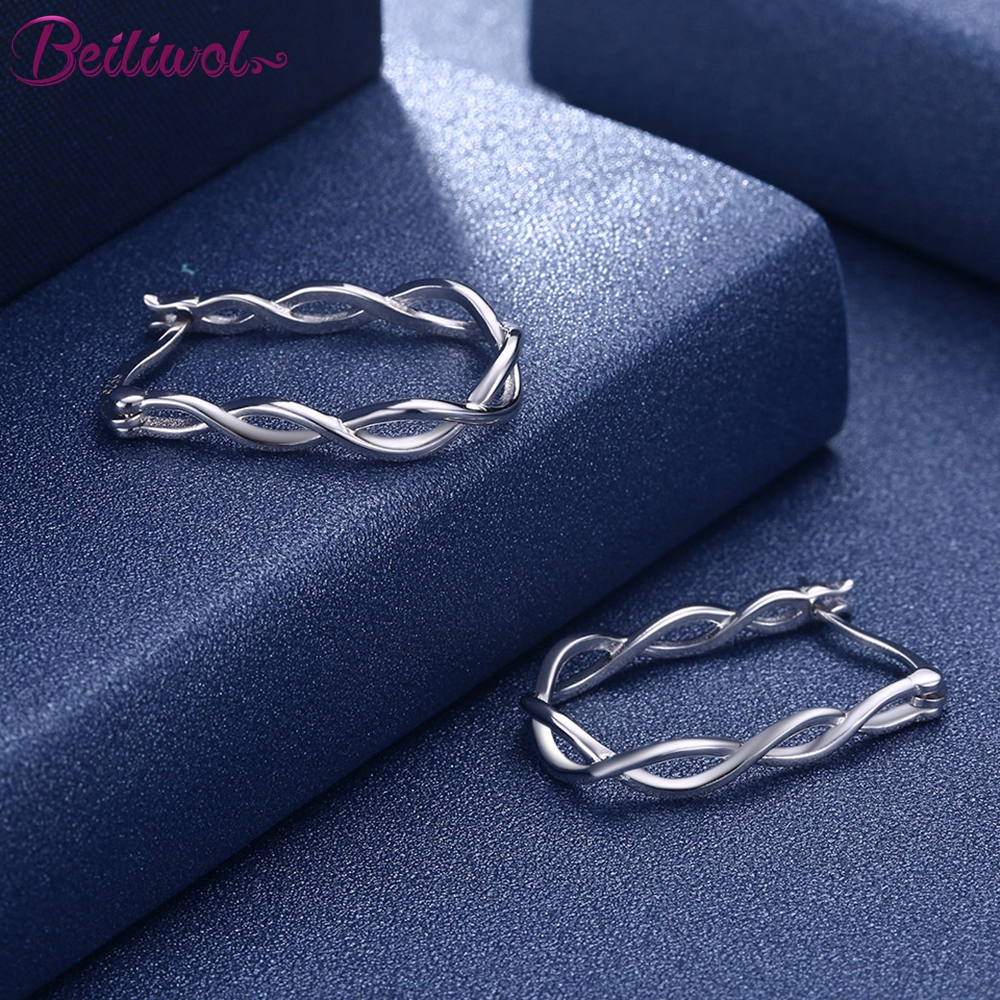Beiliwol Earrings for Women Champagne Gold-Color Simple Style Hand Twisted Rope Braid Pure Silver 925 Jewelry Female Gift Luxury