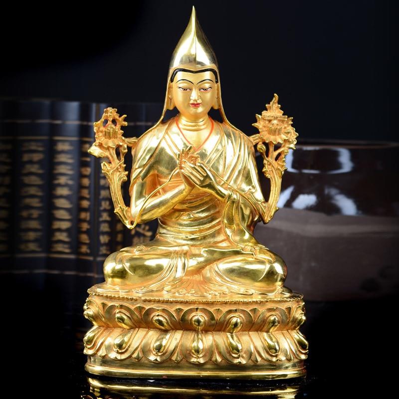 Sprzedaż hurtowa budda 32 CM domu talizman skuteczna ochrona tybetański Gelug buddyzmu Tsongkhapa złoty plated budda rysunek statua w Posągi i rzeźby od Dom i ogród na  Grupa 1