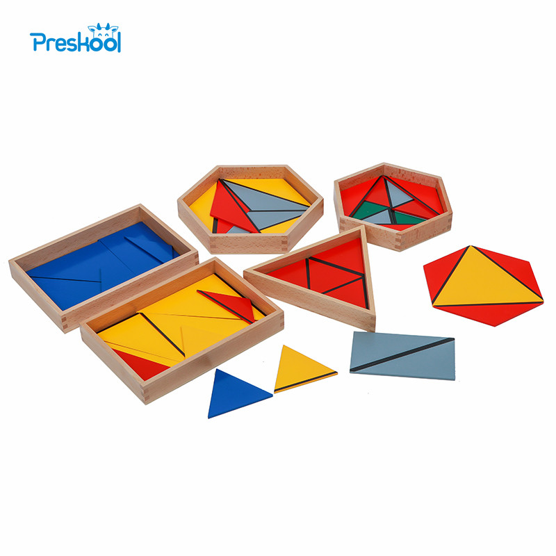 Baby Toy Montessori Professional Constructive Triangles With 5 Boxes Early Childhood Education Preschool Training Toys montessori math toys montessori materials preschool geometry constructive triangles color equilateral triangle ud2065h