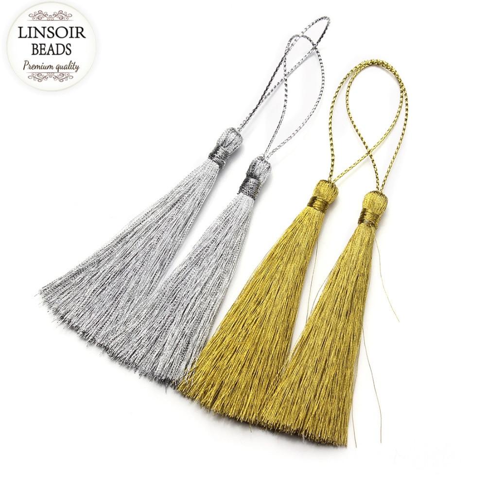 LINSOIR 30pcs/lot 40 60 80 mm Rayon Silk Tassel Gold Color Chinese Knot Cotton Tassels For DIY Jewelry Making Borlas Piel F3051
